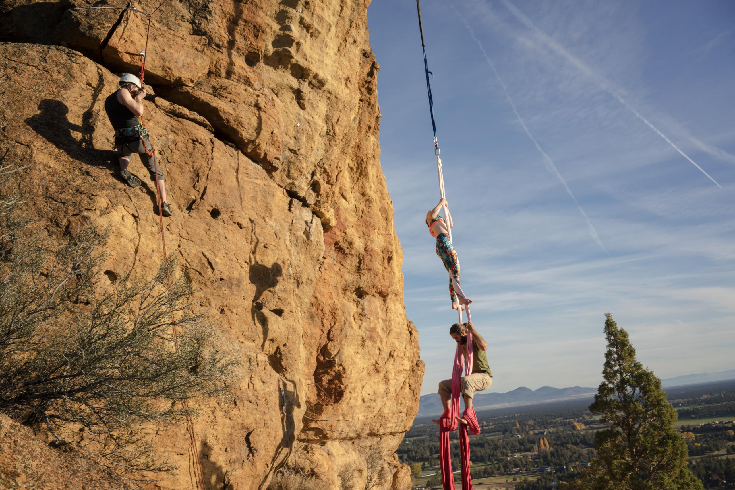 Shooting aerial silks at Smith Rock