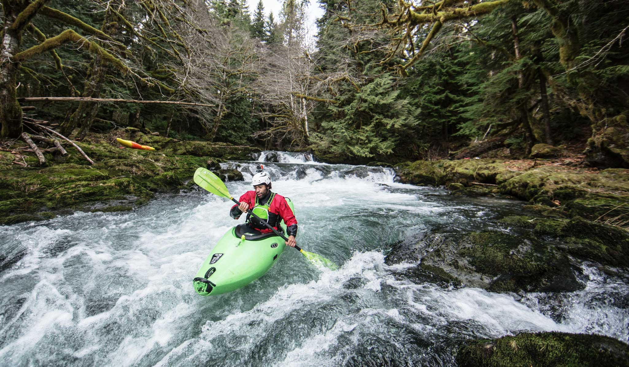 Kayaker in the Edey of Kalama Falls