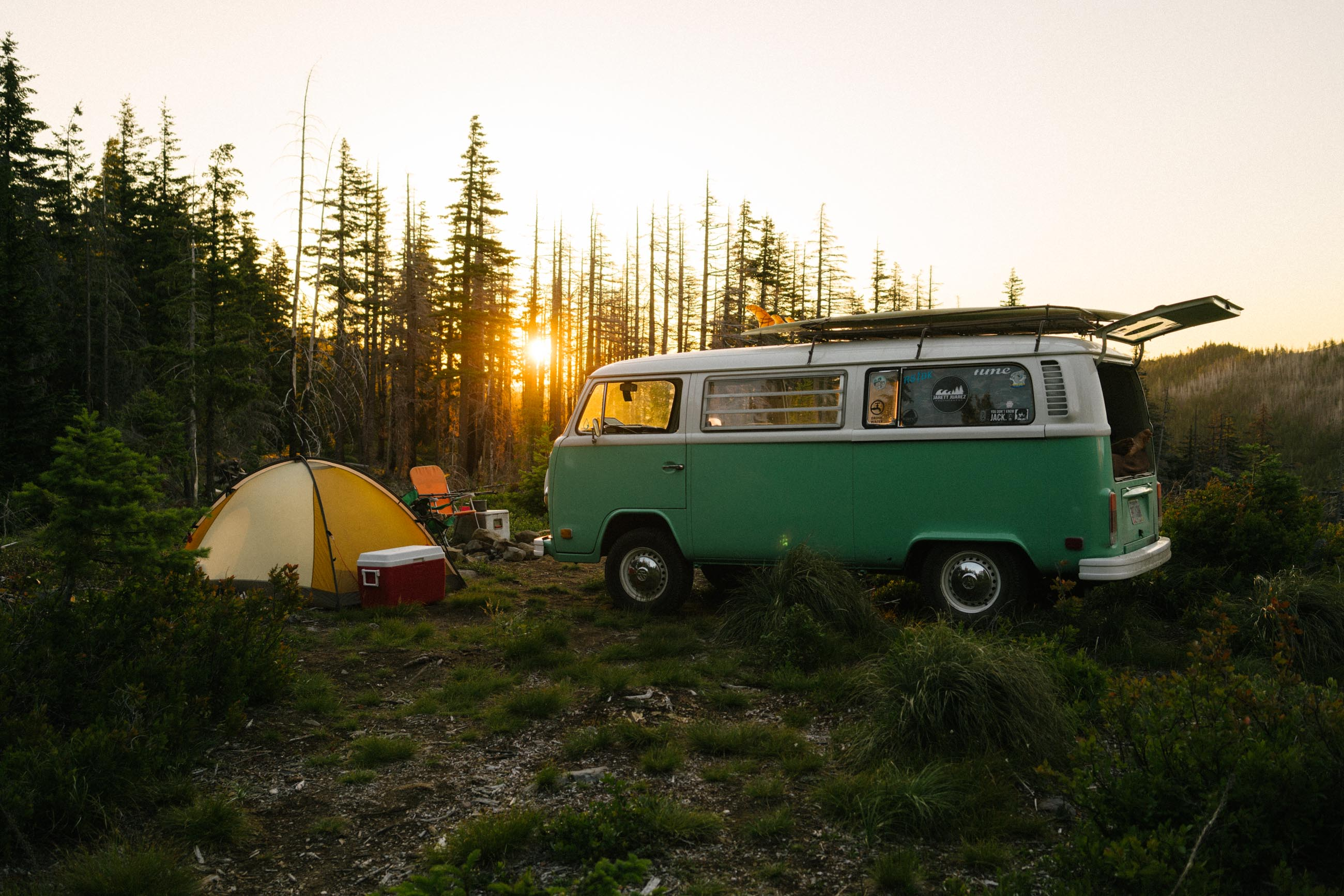 VW camping in Mt. Hood National Forest