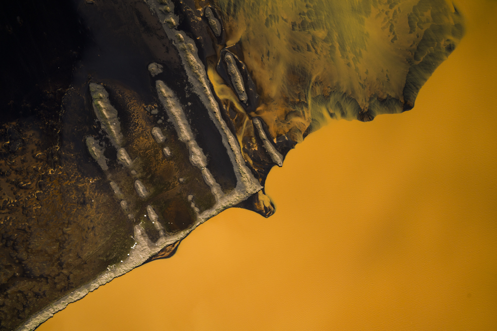 Aerial view of orange river in southern Iceland