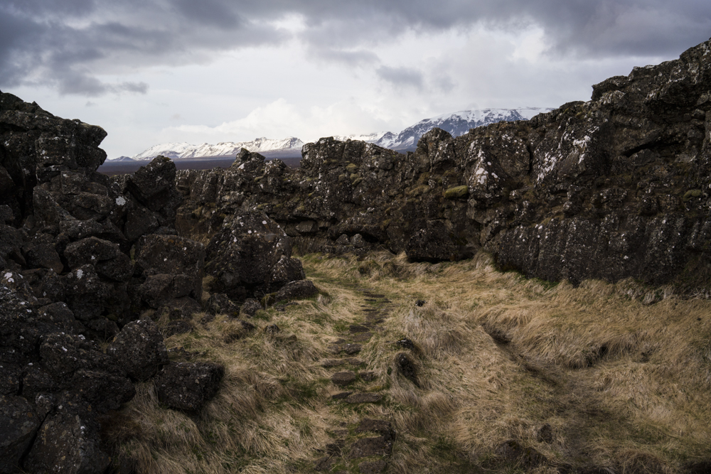 Rock formation view in Thingvellir National Park