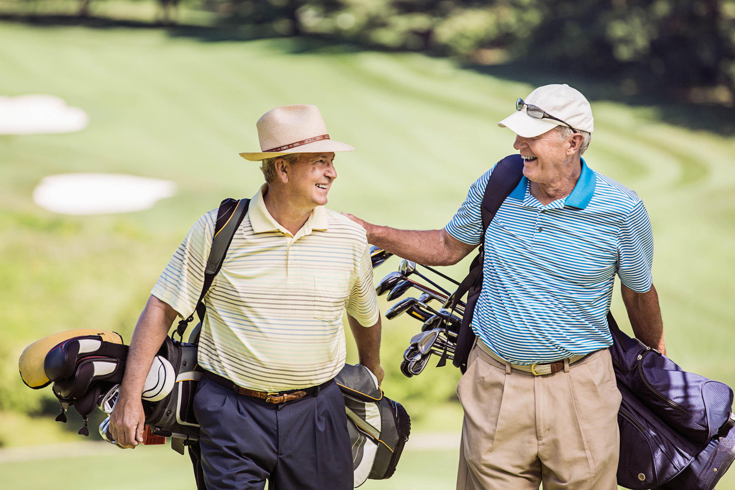 Two senior men on golf course