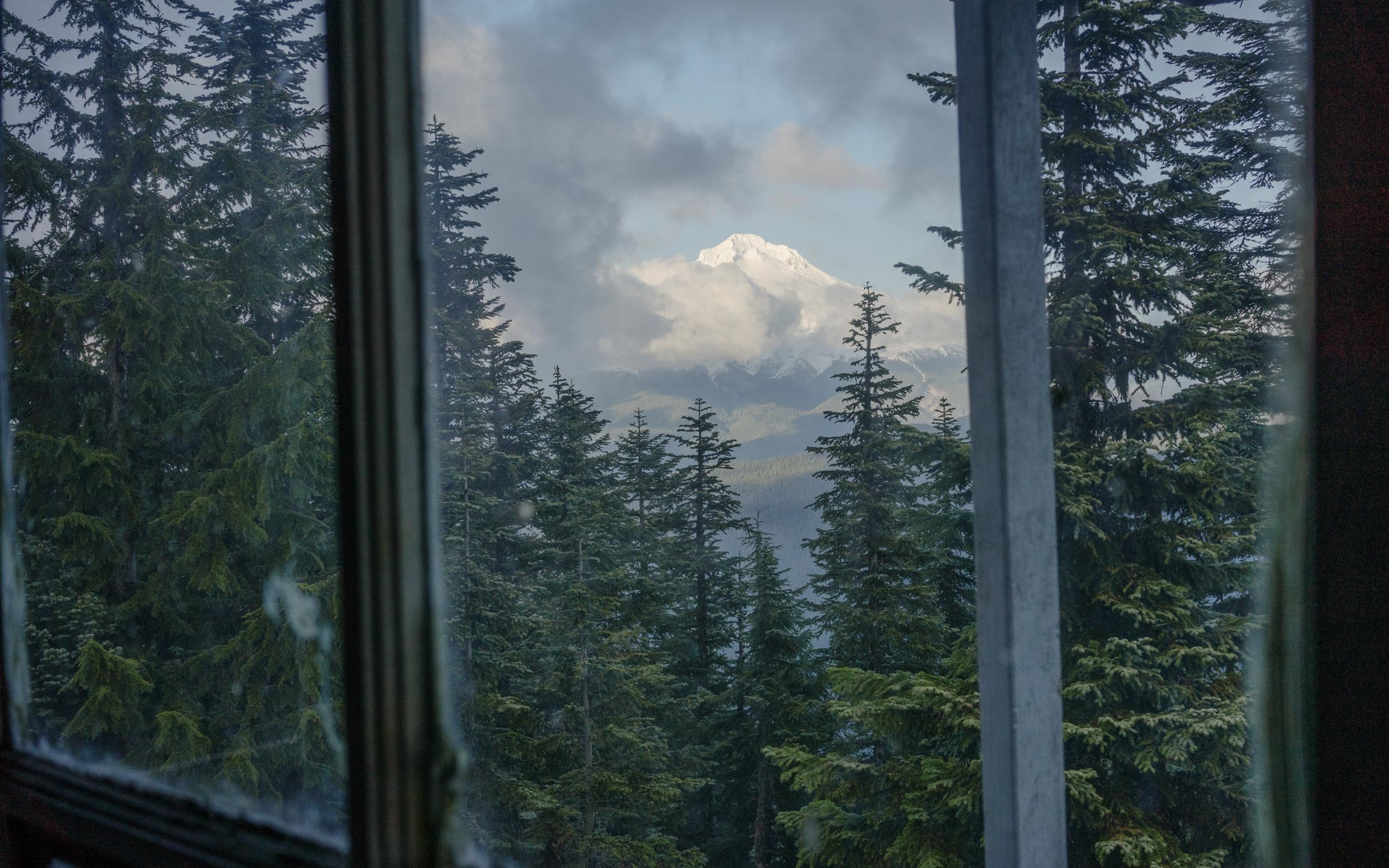 Mt Hood through forest fire lookout tower