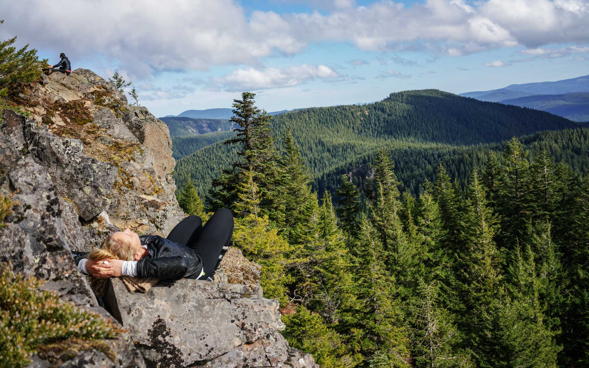 Taking a nap in the Mt Hood National Forest
