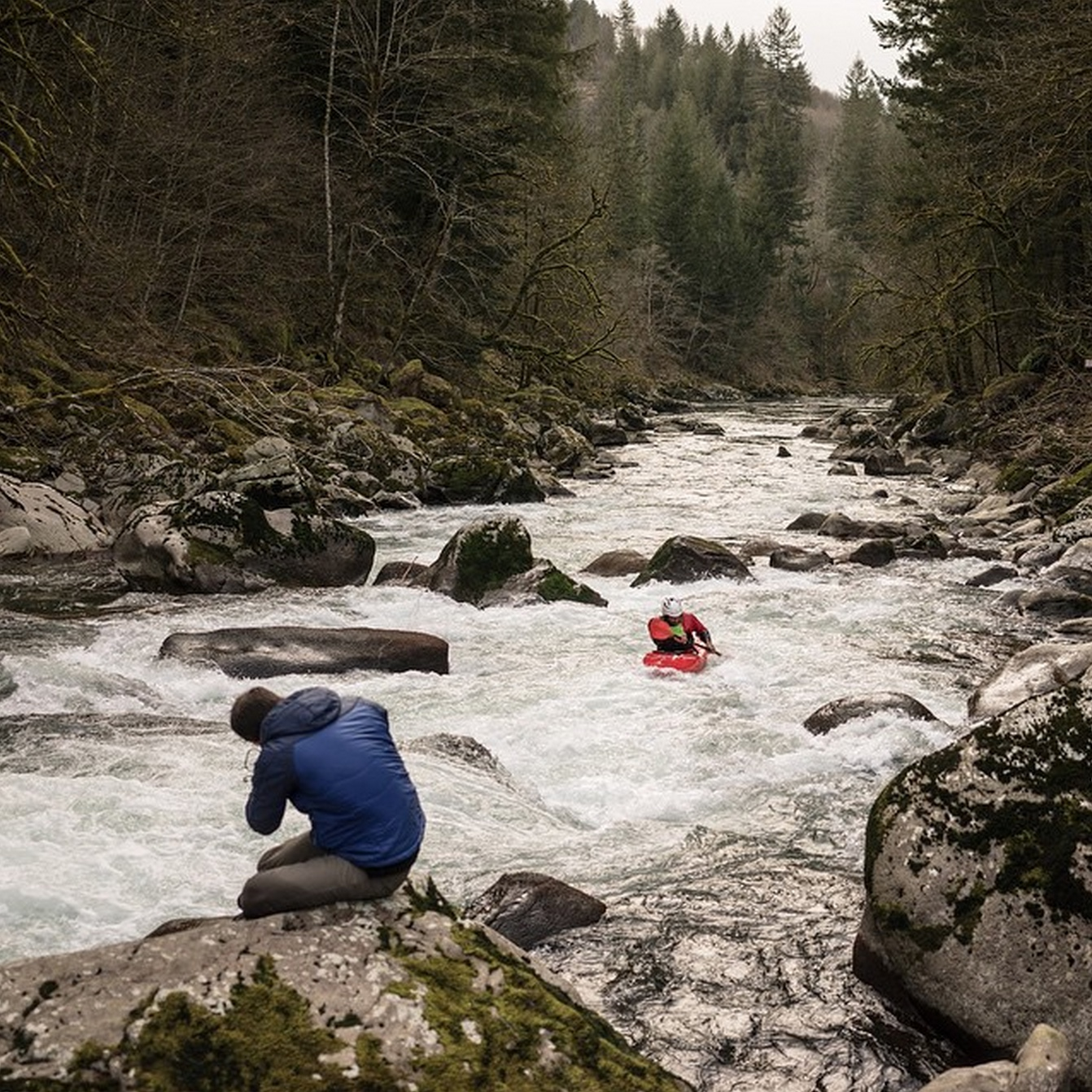 Behind the scenes shooting white water kayaking