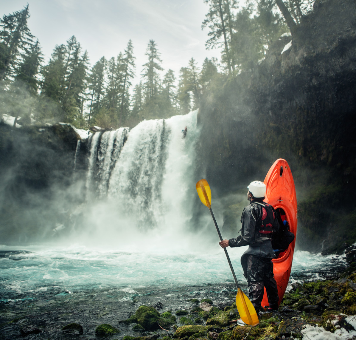 Whitewater Kayaker Watching Kayaker Huck Waterfall