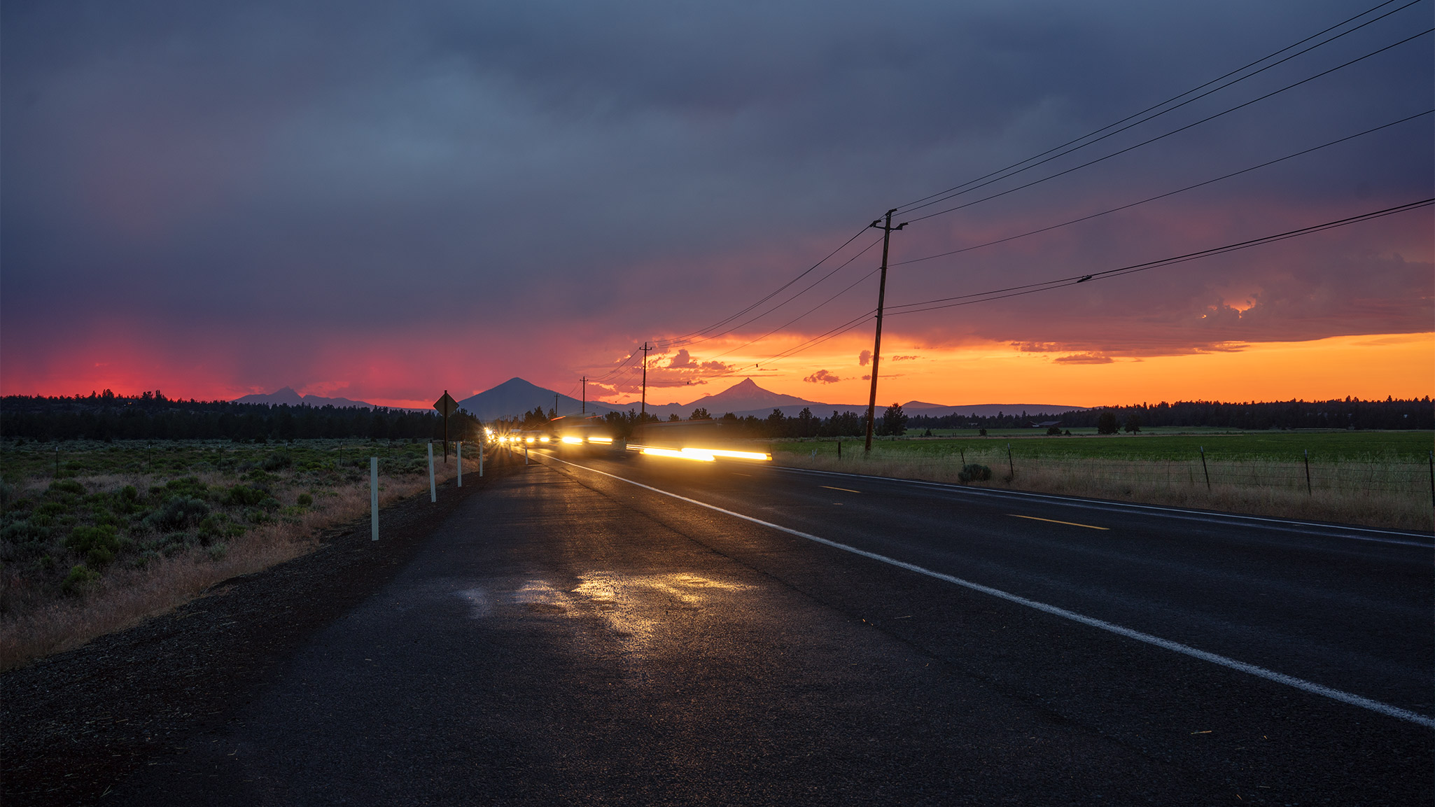 Central Oregon HWY at sunset
