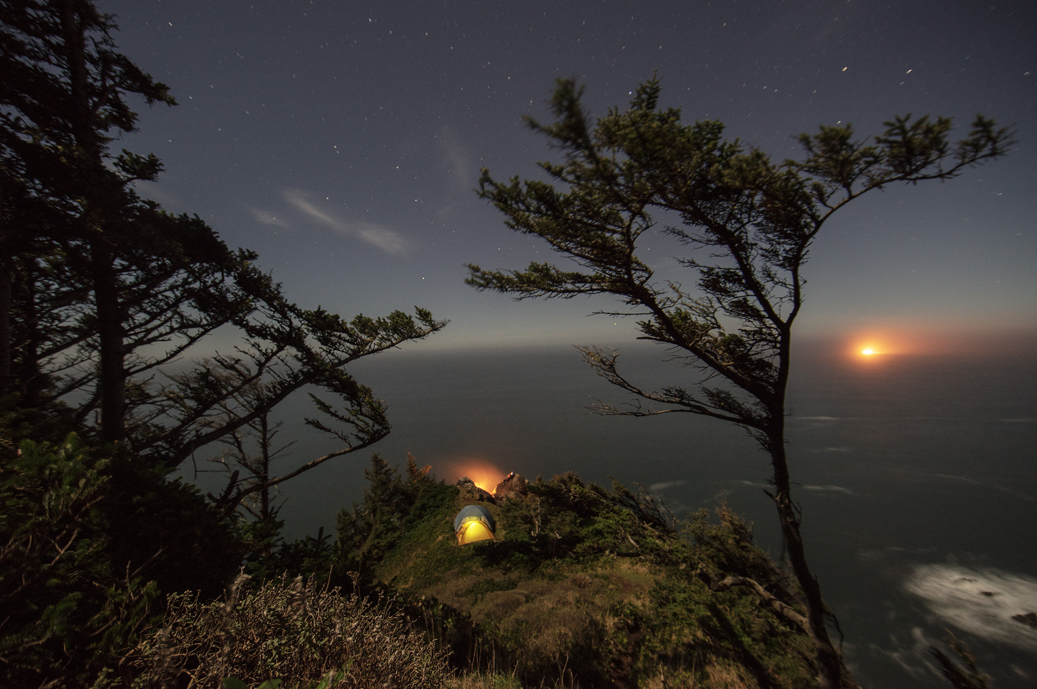 Night camping on the coast